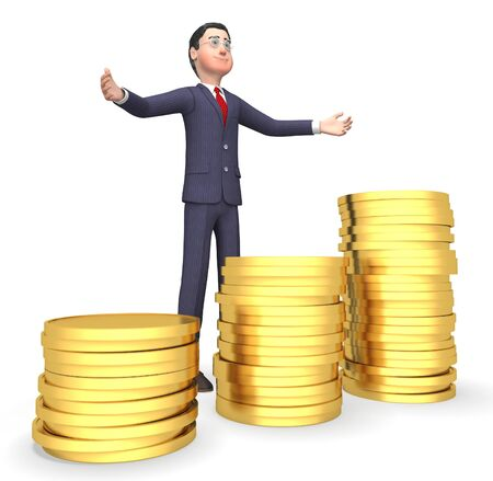 earn money: Coins Money Showing Business Person And Earn 3d Rendering