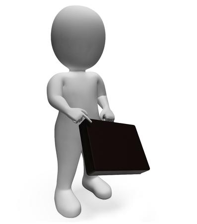 entrepreneurial: Businessman Briefcase Indicating Entrepreneurial Entrepreneur And Commercial 3d Rendering