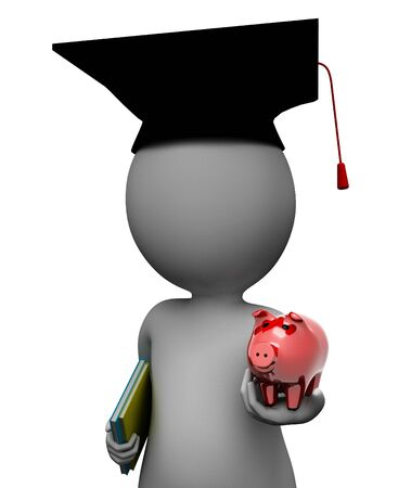 savings: Save Education Indicating Piggy Bank And Man 3d Rendering Stock Photo
