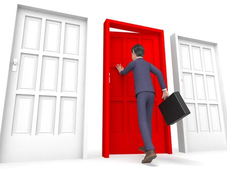 doorframe: Character Businessman Indicating Entrepreneurs Render And Right 3d Rendering