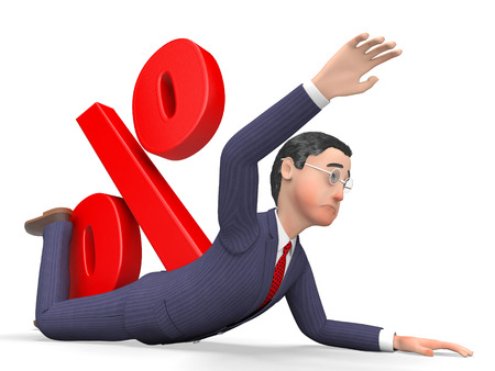quandary: Debt Percentage Indicating Business Person And Financial 3d Rendering