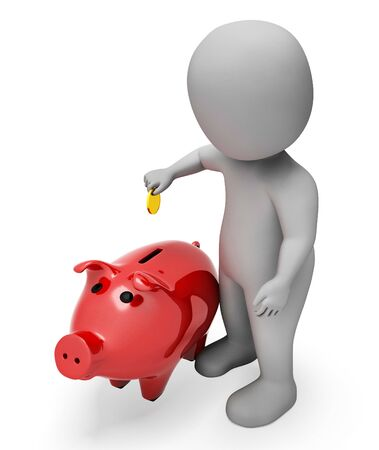 earnings: Savings Save Representing Piggy Bank And Earnings 3d Rendering Stock Photo