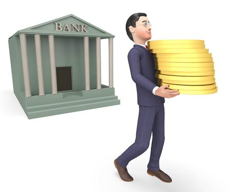 entrepreneurial: Bank Coins Meaning Business Person And Cash 3d Rendering