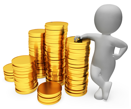 earn: Savings Coins Meaning Saver Profit And Earn 3d Rendering Stock Photo