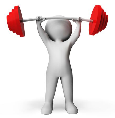 physique: Weight Lifting Showing Fitness Center And Work-Out 3d Rendering