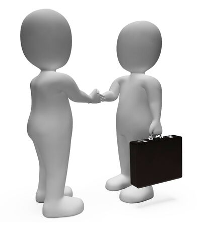 agreement shaking hands: Businessmen Agreement Meaning Shaking Hands And Executive 3d Rendering