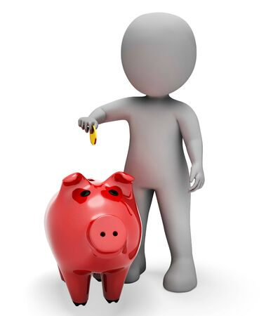 saved: Piggybank Save Representing Finances Saved And Prosperity 3d Rendering Stock Photo