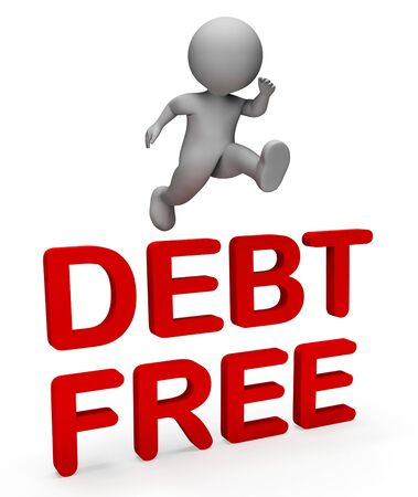indebt: Debt Free Meaning Financial Obligation And Liability 3d Rendering