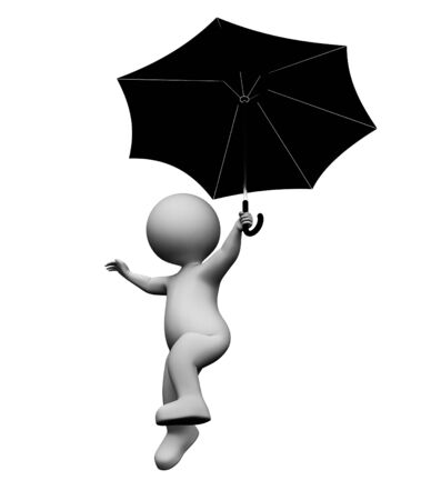 flying float: Umbrella Character Showing Man Fly And Flying 3d Rendering