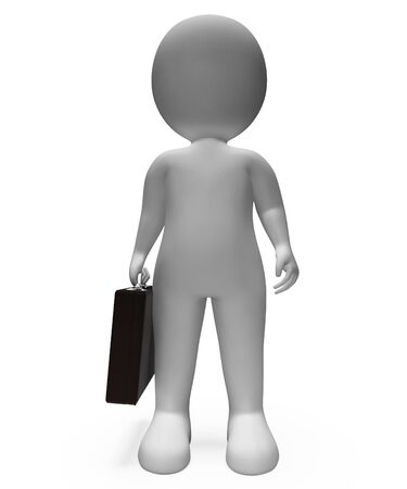 render 3d: Standing Character Indicating Business Person And Render 3d Rendering