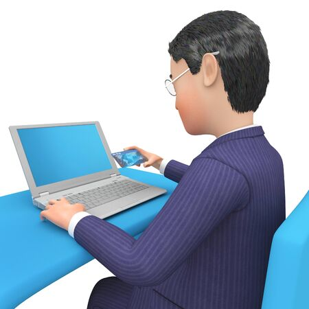 entrepreneurial: Businessman Character Meaning Executive Commercial And Entrepreneurs 3d Rendering