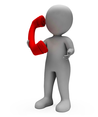 communication talk: Call Character Showing Communication Talk And Talking 3d Rendering