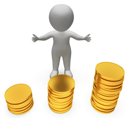 earnings: Money Finance Showing Investment Earnings And Saved 3d Rendering Stock Photo