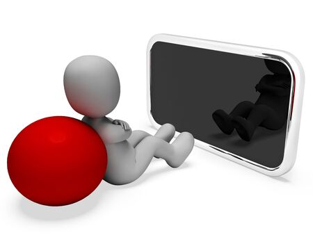 world wide web: Smartphone Character Meaning World Wide Web And Website 3d Rendering