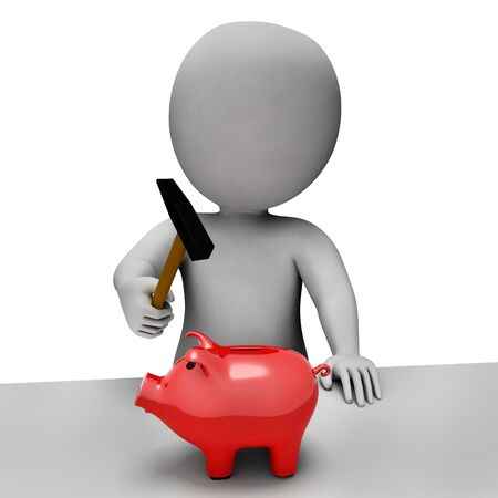 spending: Savings Piggybank Meaning Spending Word And Shopping 3d Rendering