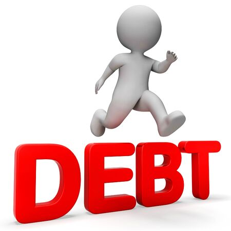 indebtedness: Character Debt Showing Climb Over And Credit 3d Rendering Stock Photo
