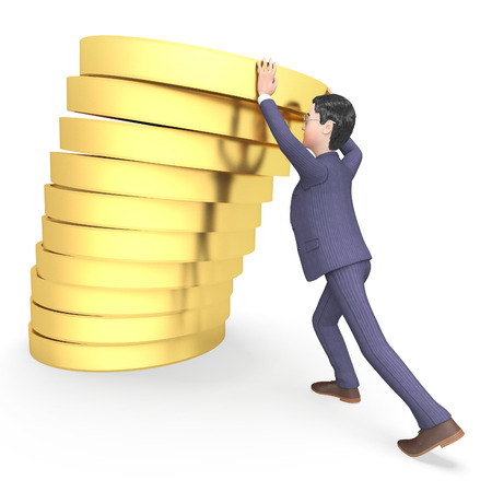 earnings: Businessman Savings Representing Earnings Trading And Richness 3d Rendering