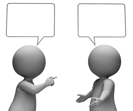 correspond: Speech Bubble Showing Copy Space And Talking 3d Rendering Stock Photo