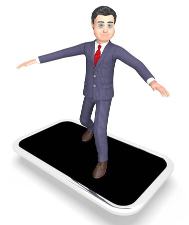 world wide web: Character Businessman Showing World Wide Web And Website 3d Rendering