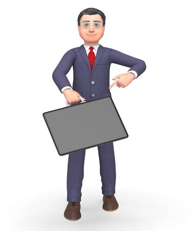 indicating: Briefcase Character Indicating Business Person And Entrepreneur 3d Rendering Stock Photo
