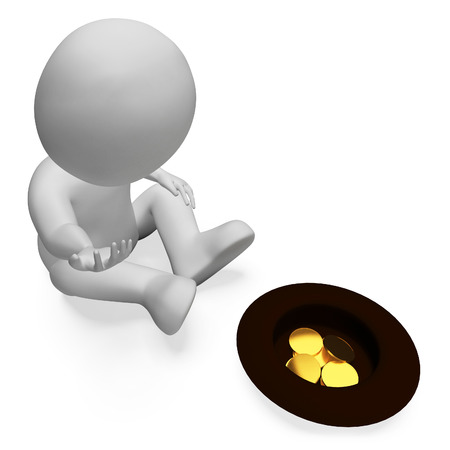 Coins Character Meaning Finance Treasure And Donation 3d Rendering Banco de Imagens