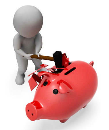 saved: Money Save Representing Spending Word And Saved 3d Rendering Stock Photo