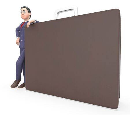 entrepreneurs: Character Briefcase Meaning Business Person And Entrepreneurs 3d Rendering