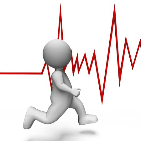 cardiograph: Health Running Meaning Heart Rate And Illustration 3d Rendering