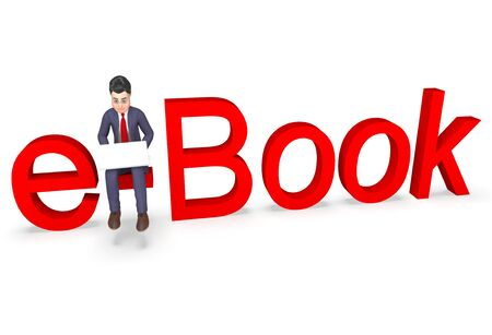e books: Businessman Character Meaning Entrepreneurs Learn And Book 3d Rendering