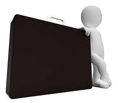 entrepreneurial: Character Copyspace Showing Business Person And Briefcase 3d Rendering