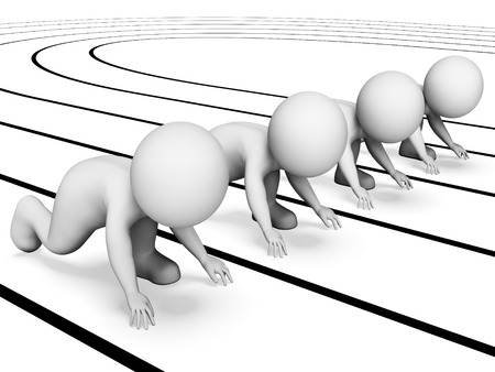 sprinting: Characters Race Showing Runner Sprinting And Run 3d Rendering Stock Photo