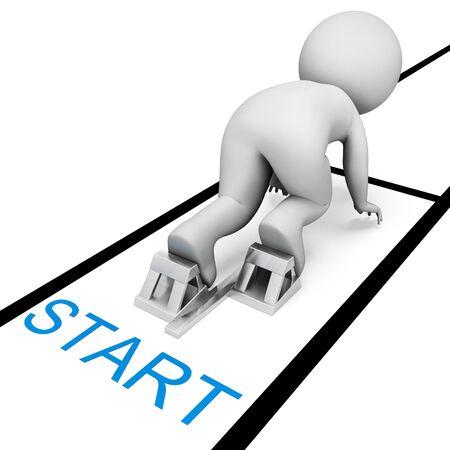 beginning: Race Start Representing Dont Wait And Run 3d Rendering Stock Photo