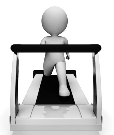 getting: Character Running Meaning Getting Fit And Exercised 3d Rendering Stock Photo