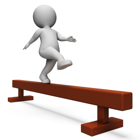 balance beam: Balance Beam Showing Working Out And Man 3d Rendering