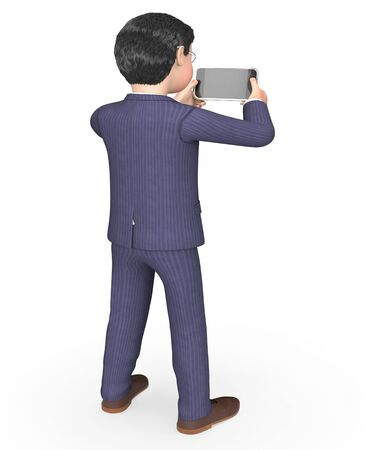 business phone: Smartphone Photo Showing Take Picture And Executive 3d Rendering