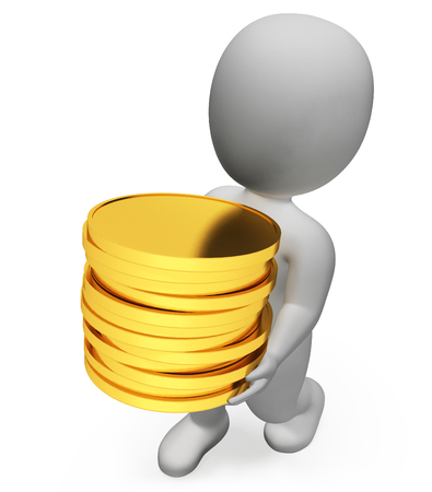 earn: Finance Coins Indicating Earn Earnings And Currency 3d Rendering