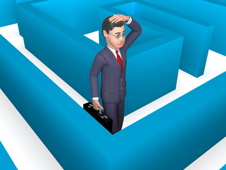 disorientated: Maze Confused Showing Business Person And Choose 3d Rendering