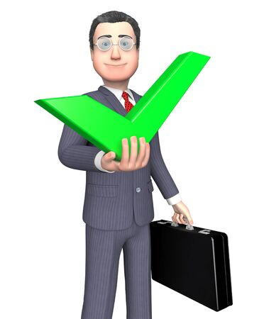 affirmative: Character Success Meaning Tick Symbol And Approval 3d Rendering