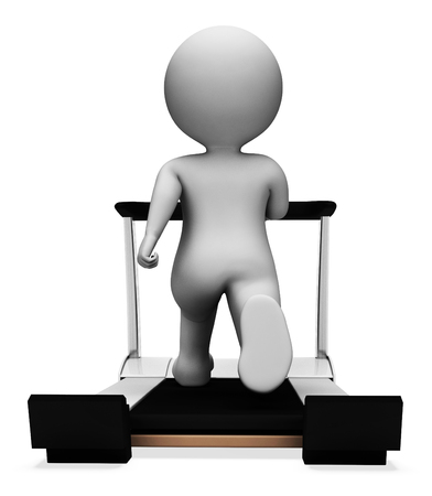 working out: Character Exercise Representing Working Out And Runner 3d Rendering Stock Photo