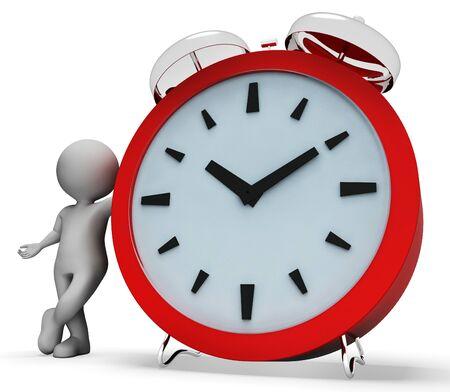 Alarm Clock Indicating Alert Awaken And Man 3d Rendering Stock Photo