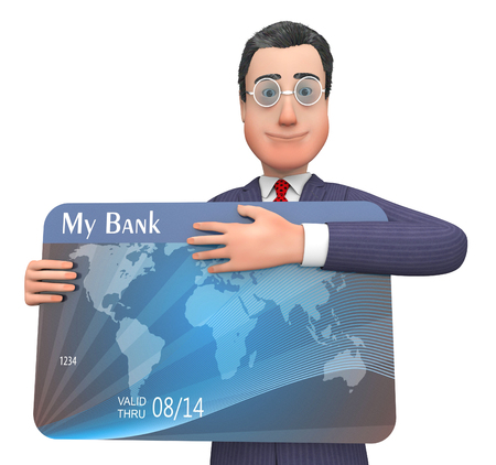 indebtedness: Credit Card Showing Currency Retail And Crisis 3d Rendering