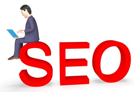 entrepreneurs: Seo Businessman Showing Indexing Development And Optimize 3d Rendering Stock Photo