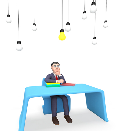 entrepreneurial: Idea Character Indicating Power Source And Considering 3d Rendering