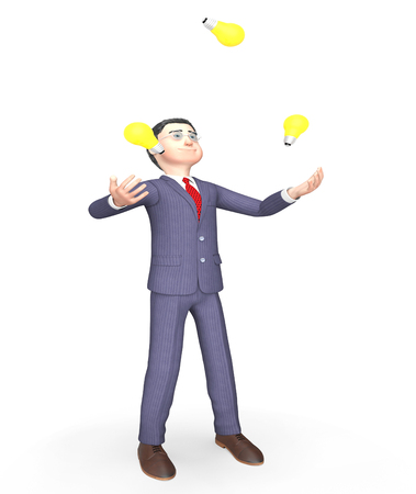 dexterity: Businessman Idea Representing Light Bulbs And Think 3d Rendering