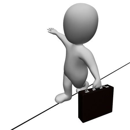 rope walker: Tightrope Balancing Meaning High Line And Worried 3d Rendering Stock Photo