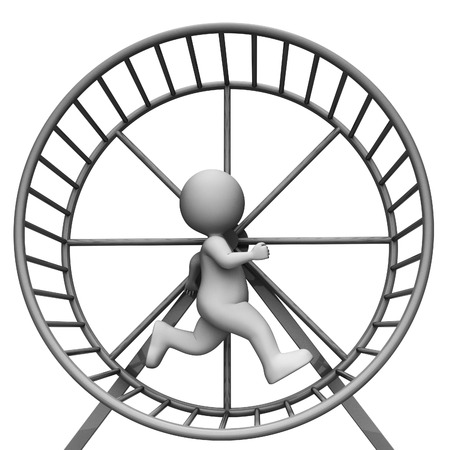 slog: Hamster Wheel Showing Work Out And Character 3d Rendering
