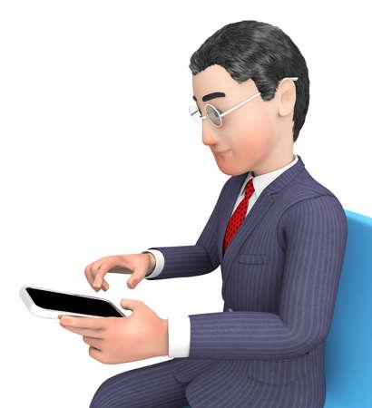 entrepreneurs: Businessman Smartphone Meaning Entrepreneurs Illustration And Render 3d Rendering