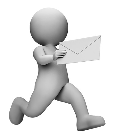 correspond: Character Message Showing Send Correspondence And Messages 3d Rendering