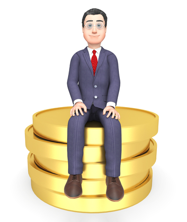 saver: Businessman Character Indicating Saver Wealth And Earn 3d Rendering