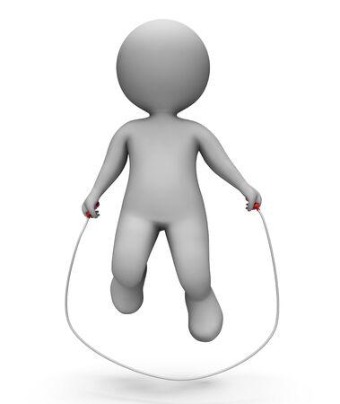 saltar la cuerda: Saltarse caracteres que indican la cuerda de salto y un gimnasio Representaci�n 3d